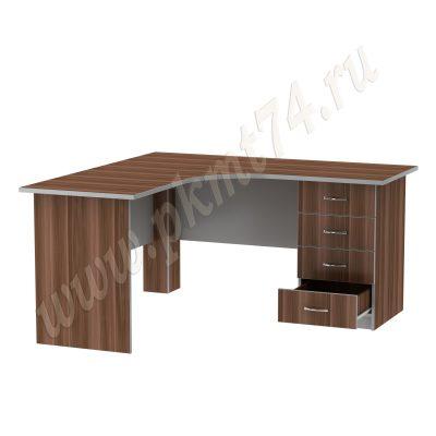 Стол письменный угловой для офиса MT 06-14 серый Слива-Алюм