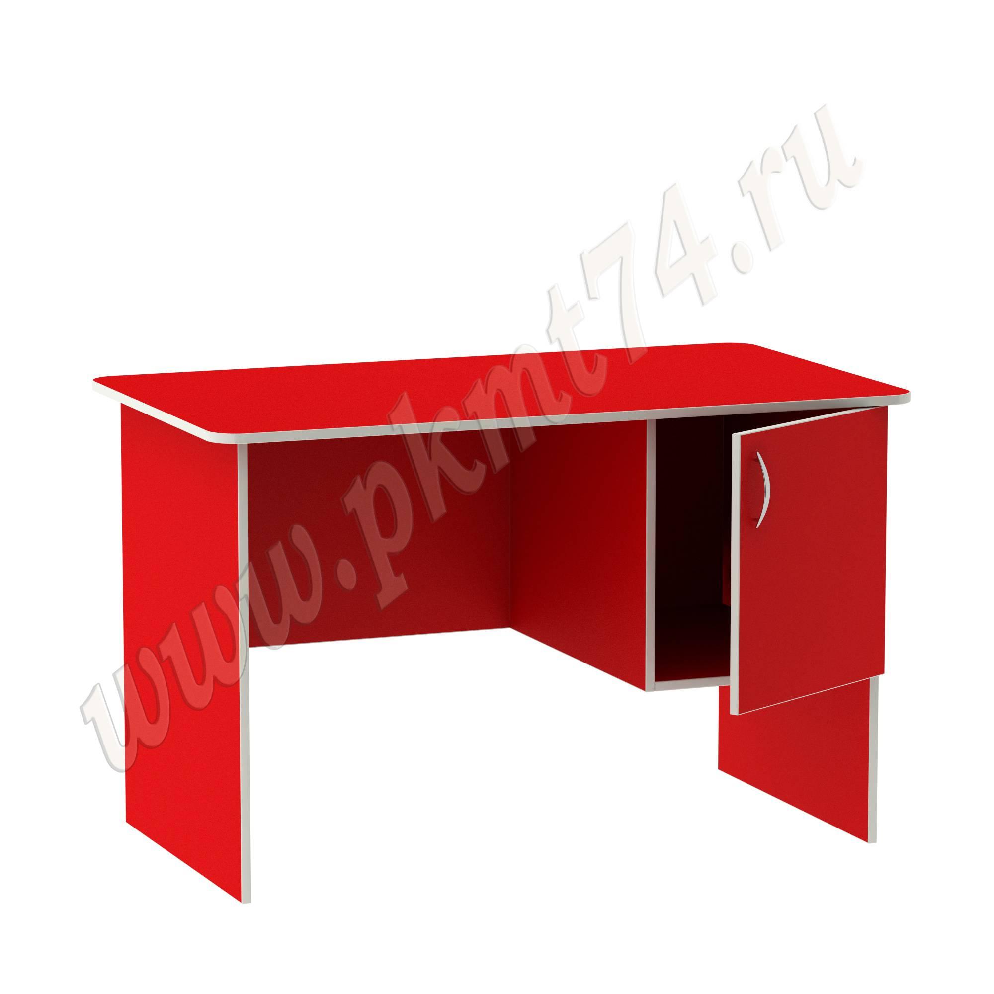 Стол воспитателя с вместительным ящичком [Цвет на выбор:: Красный; Полочка в тумбе:: Нет]