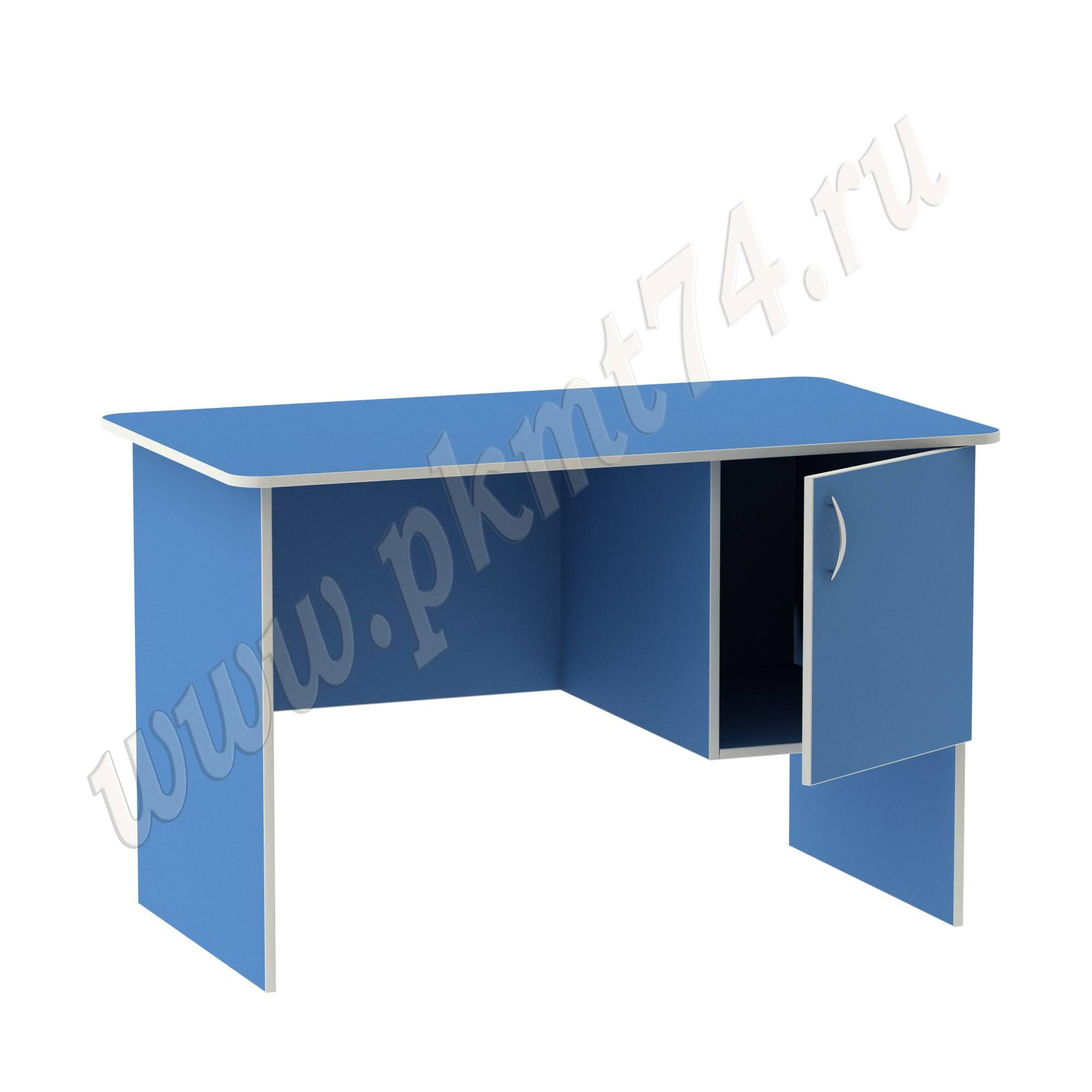 Стол воспитателя с вместительным ящичком [Цвет на выбор:: Голубой; Полочка в тумбе:: Нет]