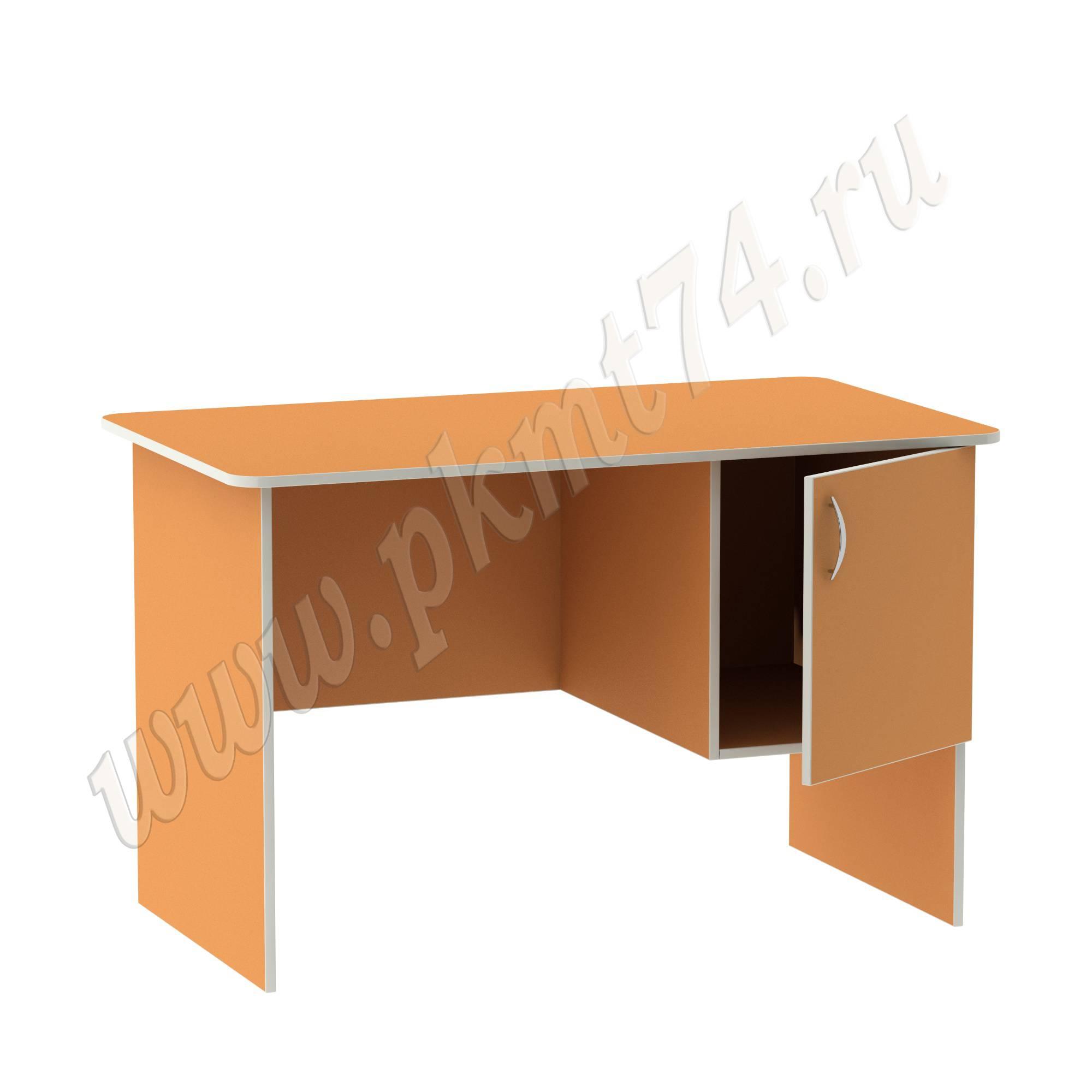 Стол воспитателя с вместительным ящичком [Цвет на выбор:: Оранжевый (Манго); Полочка в тумбе:: Нет]