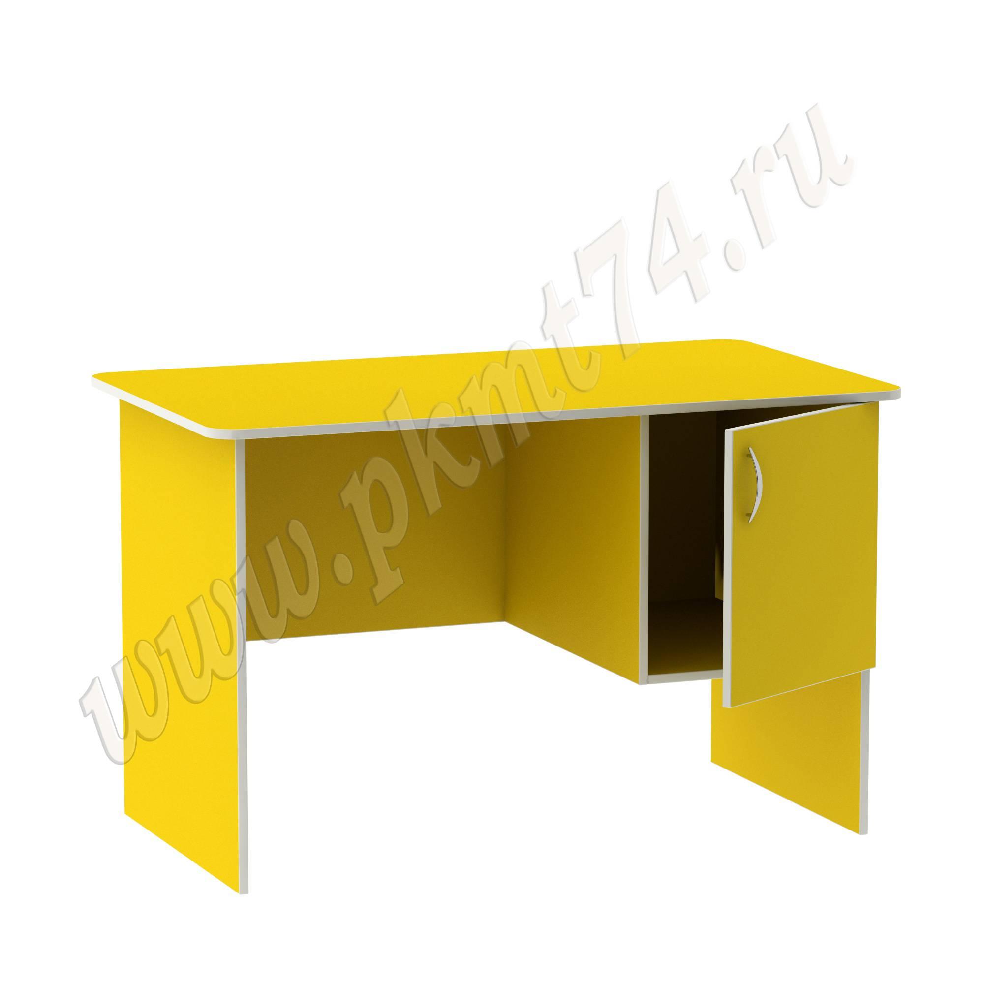 Стол воспитателя с вместительным ящичком [Цвет на выбор:: Желтый; Полочка в тумбе:: Нет]