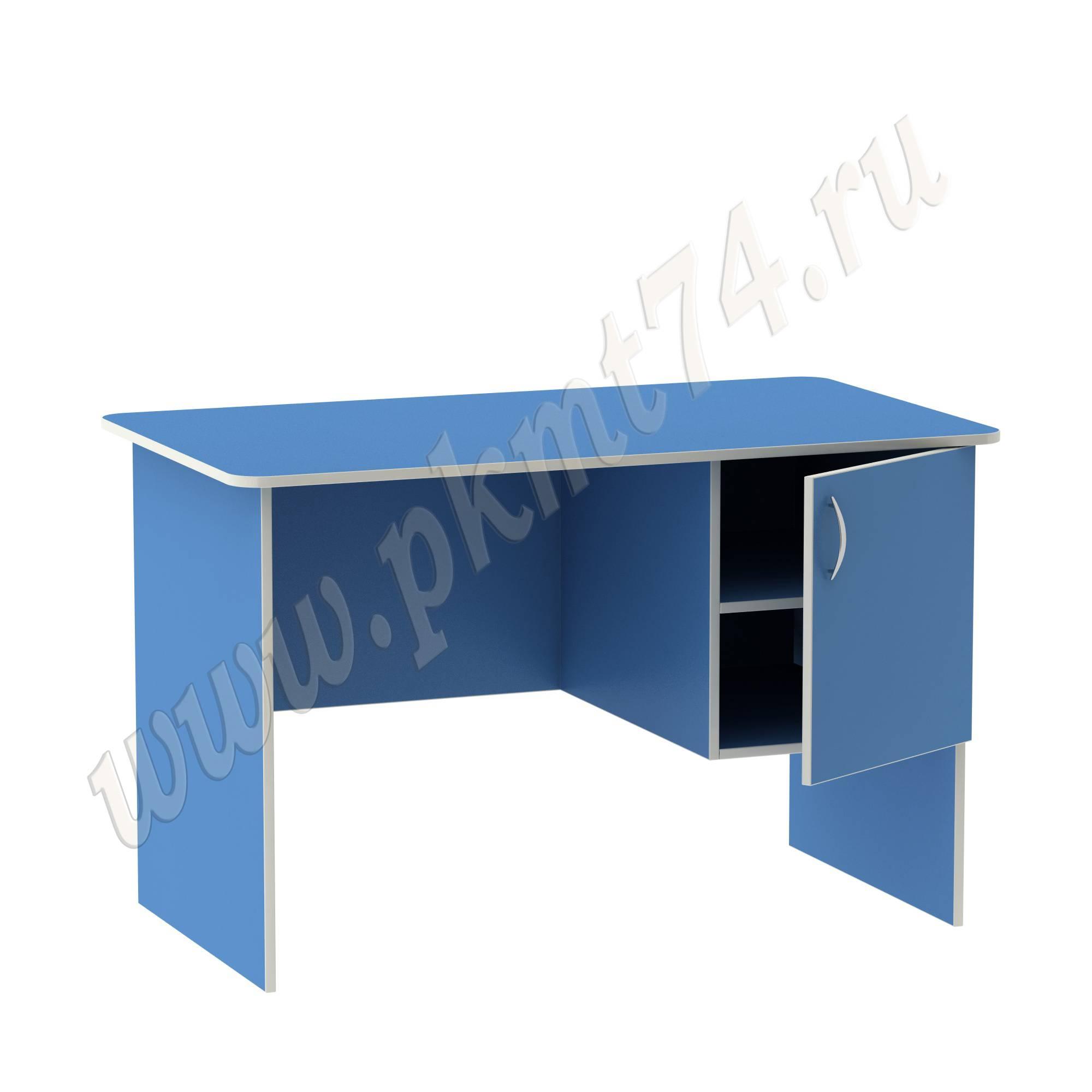 Стол воспитателя с вместительным ящичком [Цвет на выбор:: Голубой; Полочка в тумбе:: Да]