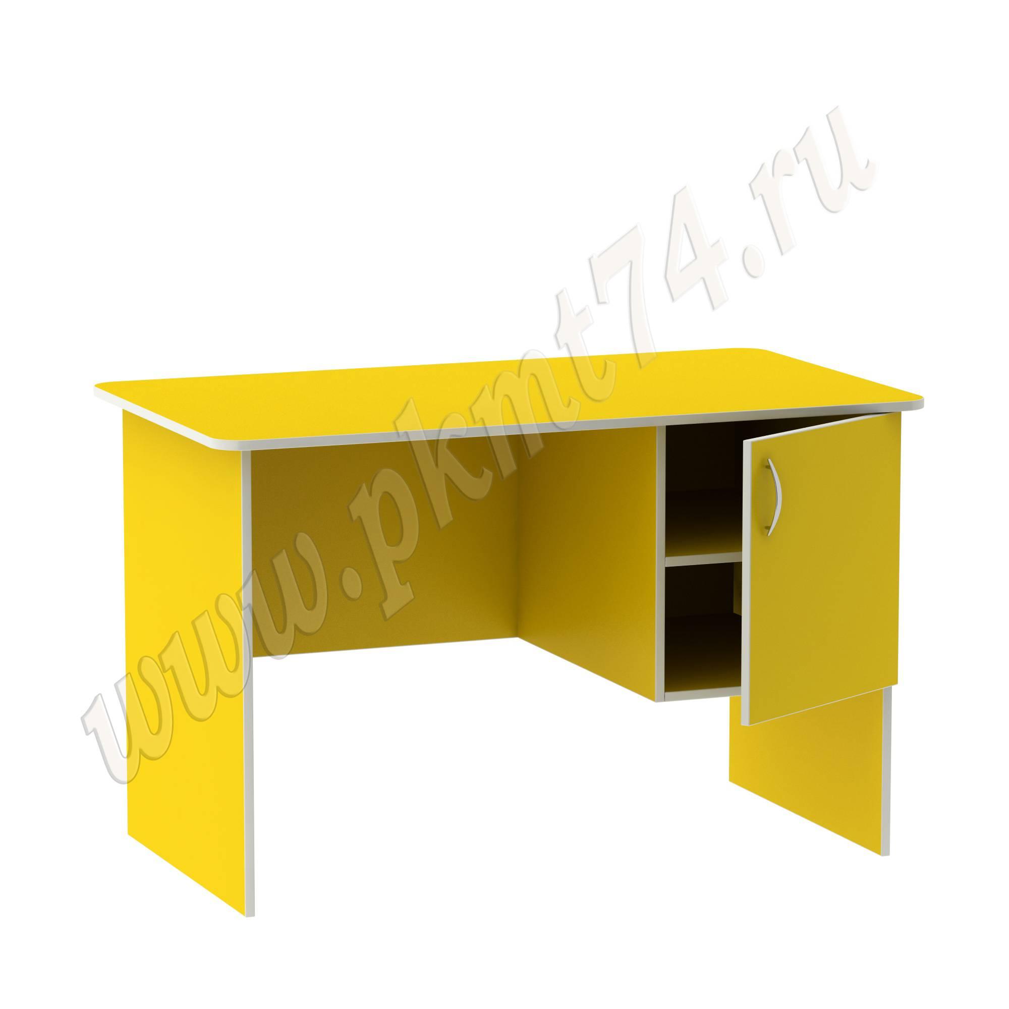 Стол воспитателя с вместительным ящичком [Цвет на выбор:: Желтый; Полочка в тумбе:: Да]