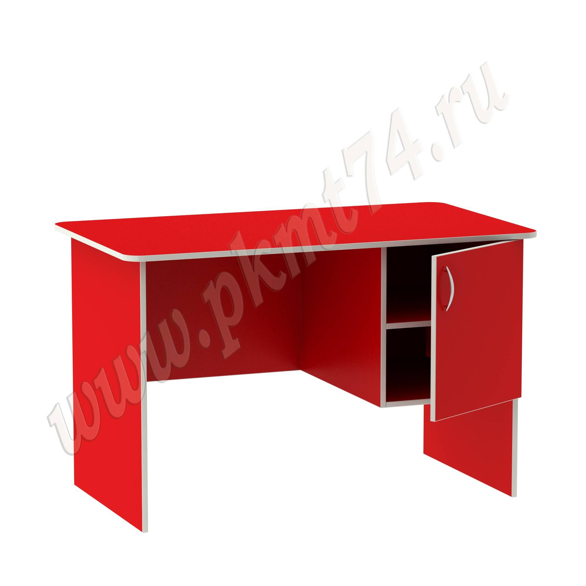Стол воспитателя с вместительным ящичком [Цвет на выбор:: Красный; Полочка в тумбе:: Да]