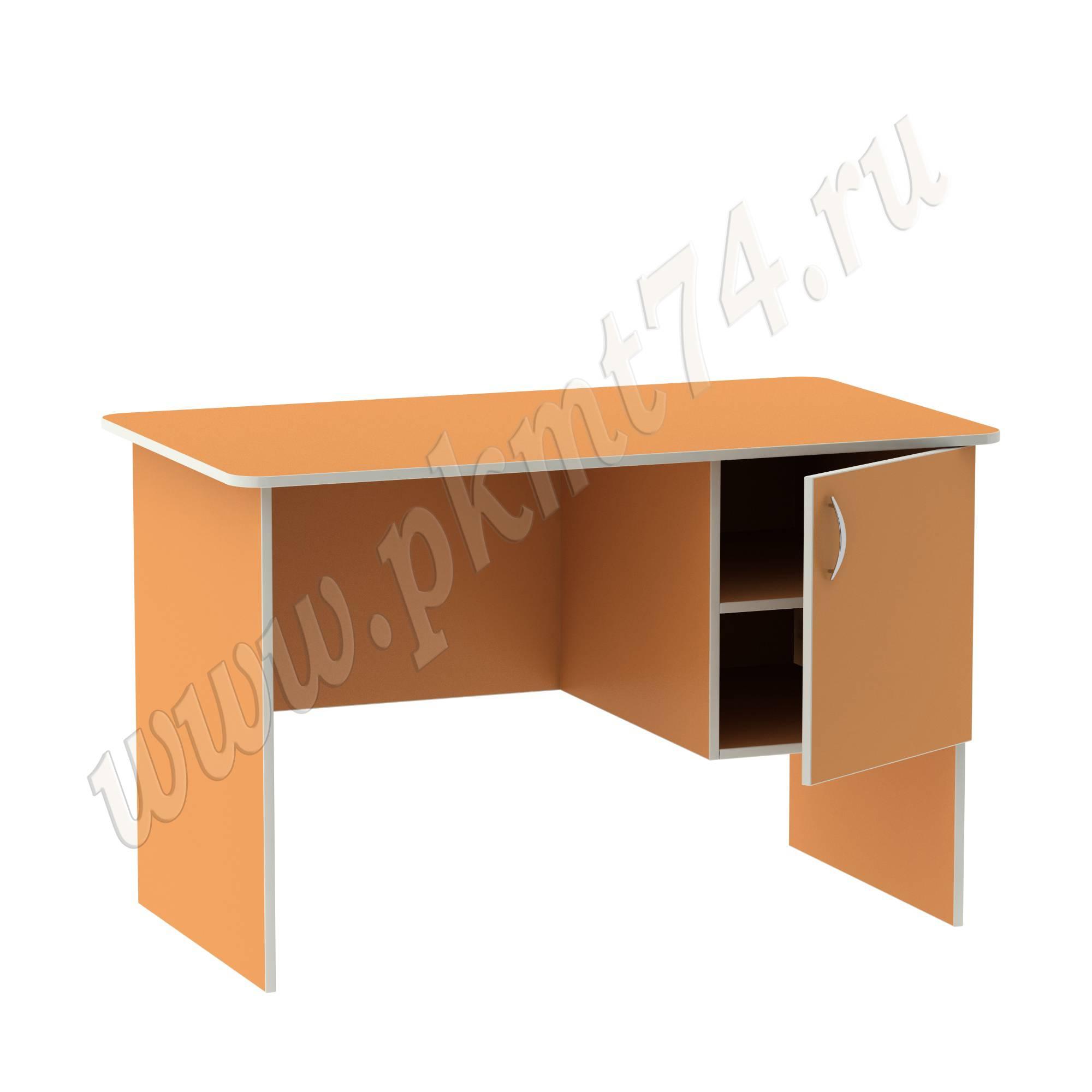 Стол воспитателя с вместительным ящичком [Цвет на выбор:: Оранжевый (Манго); Полочка в тумбе:: Да]