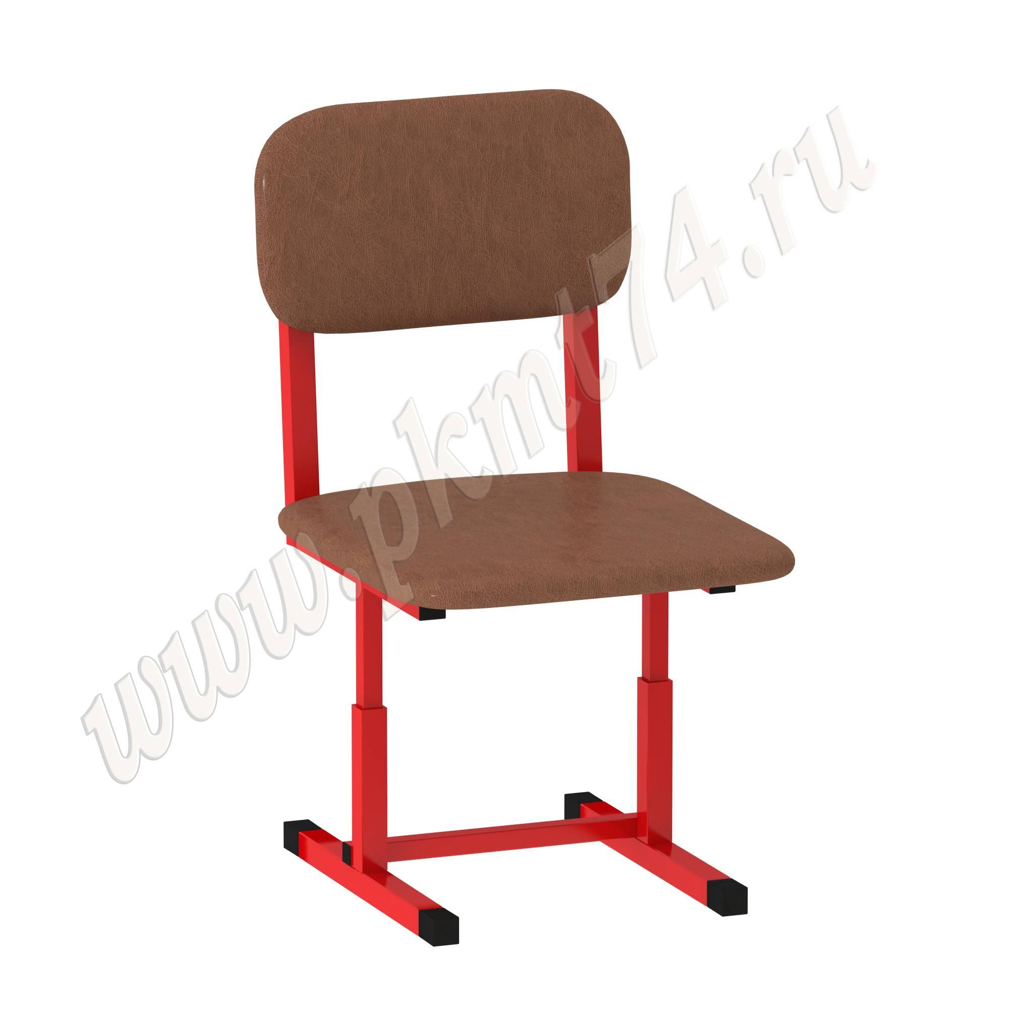 Стул Малыш регулируемый мягкий МТ 17-222 Коричневое сиденье красный каркас