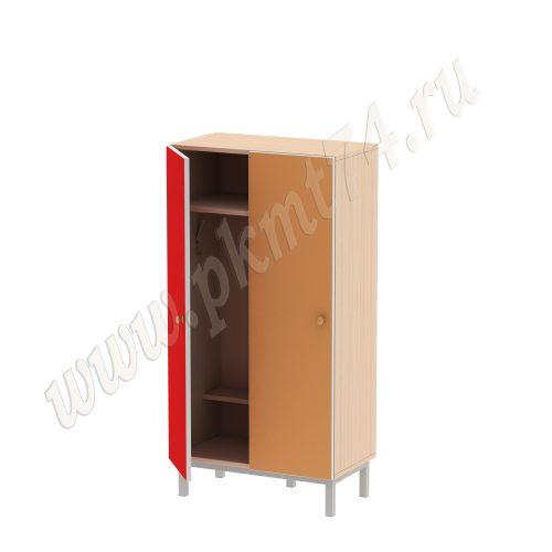 Шкаф двухместный для детской одежды МТ 17-76 Дуб Молочный-Красн-Оранж